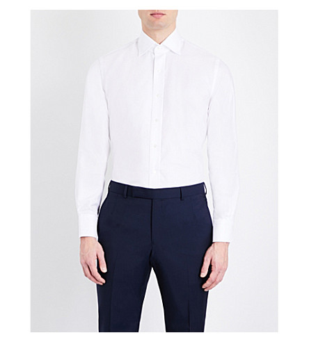 EMMETT LONDON Oxford slim-fit cotton shirt (White
