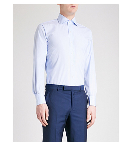 EMMETT LONDON Slim-fit cotton shirt (Sky+blue