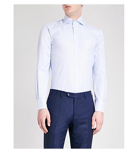 EMMETT LONDON 修身版型棉牛津衬衫 (天 + 蓝