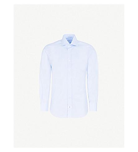 EMMETT LONDON Slim-fit cotton-twill shirt (Sky+blue
