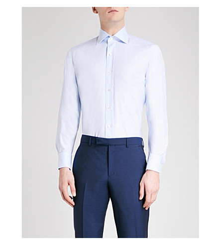 EMMETT LONDON Slim-fit cotton-twill shirt (Sky+blue