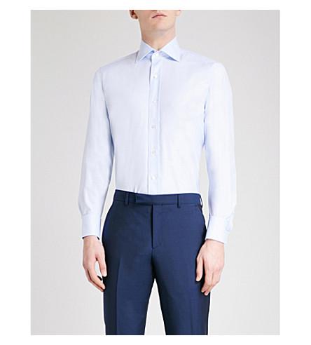 EMMETT LONDON 修身版型棉斜纹衬衫 (天蓝色