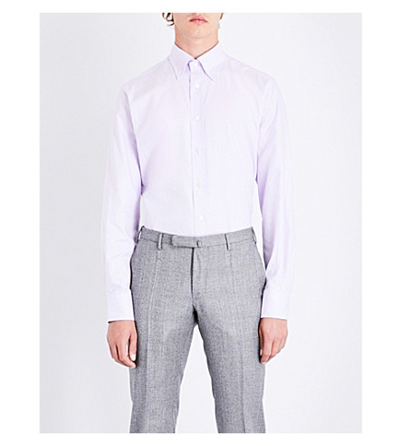 EMMETT LONDON Slim-fit cotton shirt (Light+purple