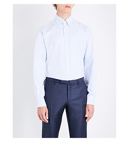 EMMETT LONDON Slim-fit cotton shirt (Light+blue