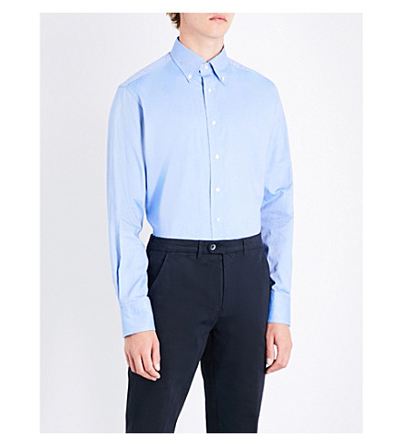 EMMETT LONDON Slim-fit pindot cotton shirt (Mid+blue