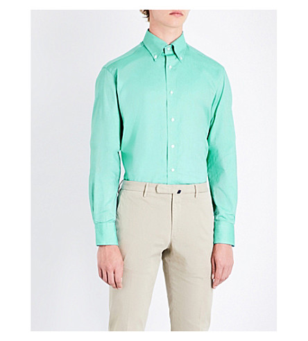 EMMETT LONDON Pindot-pattern slim-fit cotton shirt (Green