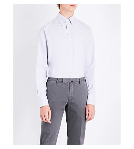 EMMETT LONDON Pindot-pattern slim-fit cotton shirt (Light+grey
