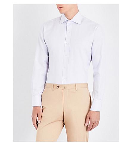 EMMETT LONDON Micro dot-patterned slim-fit cotton shirt (White