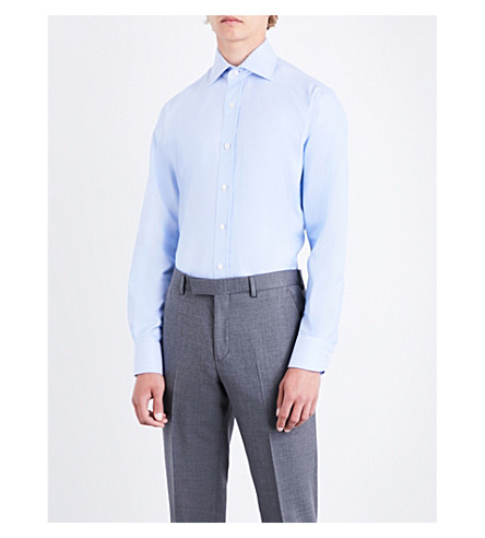 EMMETT LONDON Micro-patterned slim-fit cotton shirt (Sky