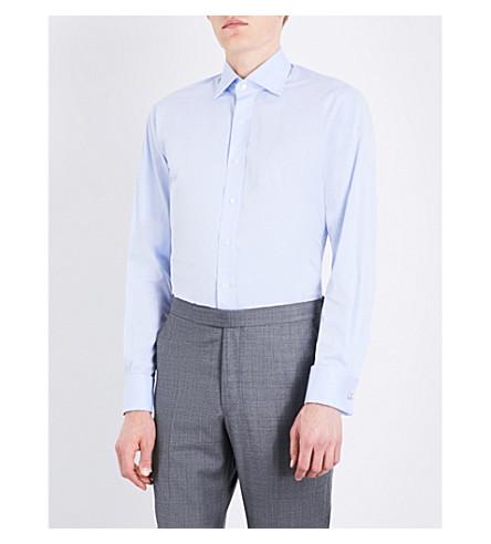 EMMETT LONDON Pinstripe slim-fit double-cutff cotton shirt (Light+blue