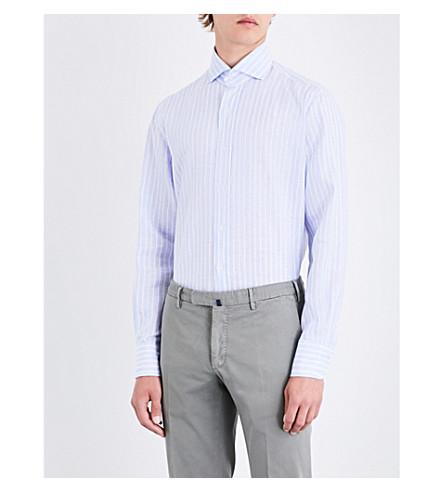 EMMETT LONDON Striped slim-fit linen shirt (White/sky