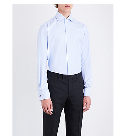 EMMETT LONDON Dogtooth-patterned slim-fit double-cuff cotton shirt (Sky