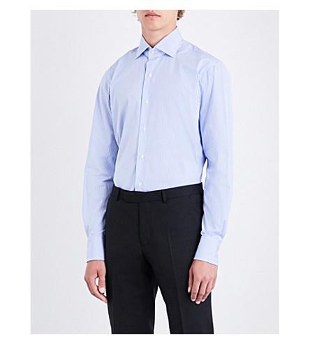 EMMETT LONDON Bengal stripe-patterned slim-fit cotton shirt (Sky
