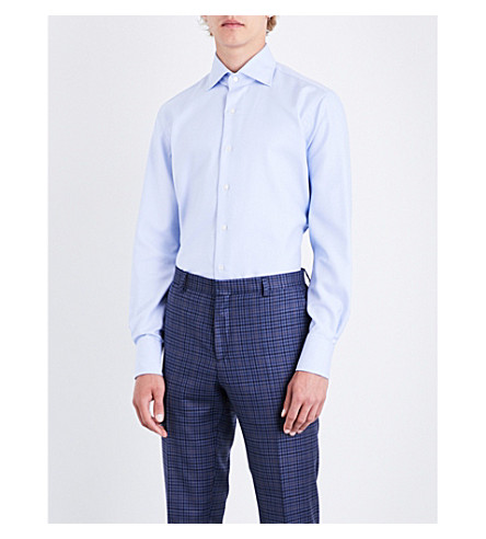 EMMETT LONDON Zigzag-patterned slim-fit cotton shirt (Sky