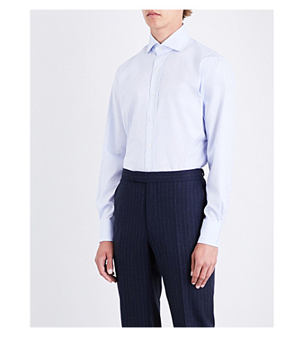 EMMETT LONDON Micro-patterned slim-fit cotton shirt (Blue