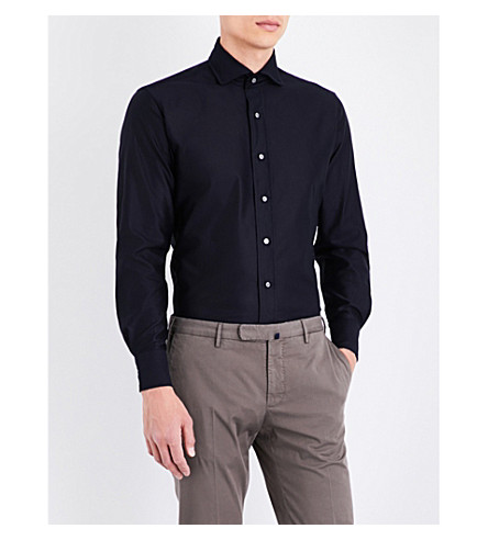 EMMETT LONDON Slim-fit airtex shirt (Navy