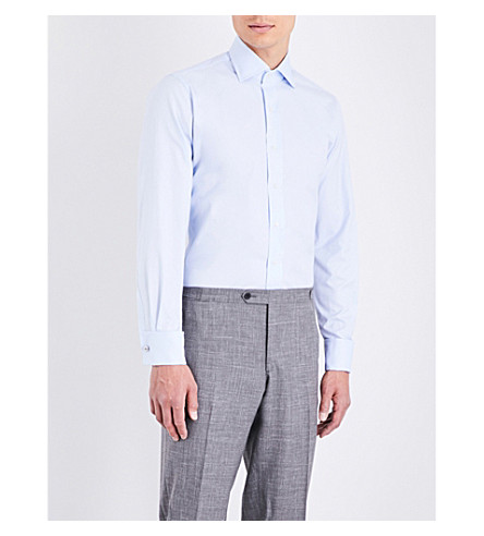 EMMETT LONDON Slim-fit double-cuff cotton shirt (Blue