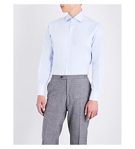 EMMETT LONDON Slim-fit twill herringbone cotton shirt (Sky