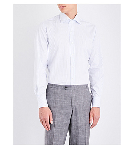 EMMETT LONDON Striped slim-fit cotton shirt (White/sky