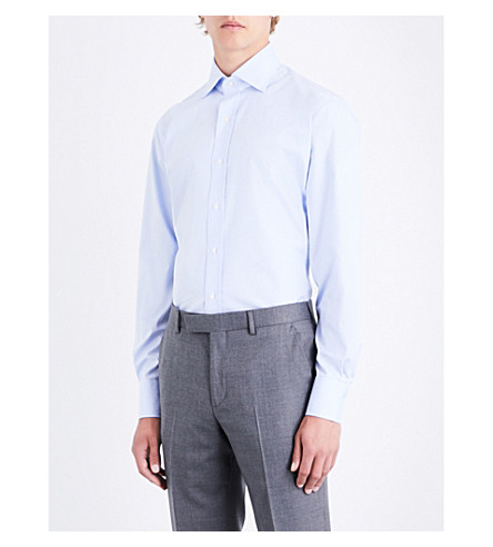 EMMETT LONDON Micro-patterned slim-fit cotton shirt (Sky+blue