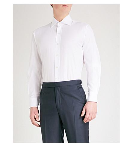 EMMETT LONDON Herringbone slim-fit cotton shirt (White