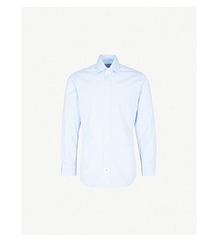 EMMETT LONDON Herringbone-pattern slim-fit cotton shirt (Sky+blue