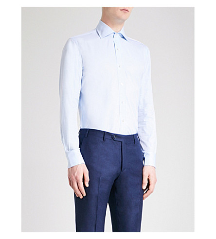 EMMETT LONDON Herringbone-pattern slim-fit cotton shirt (Sky+blue
