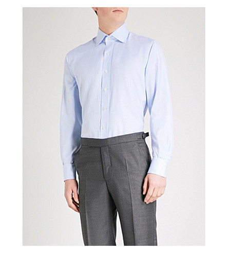 EMMETT LONDON Houndstooth slim-fit cotton shirt (Sky+blue