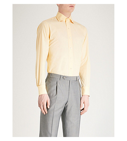 EMMETT LONDON Slim-fit cotton shirt (Yellow