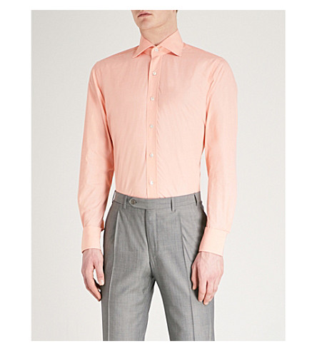 EMMETT LONDON Slim-fit cotton shirt (Orange