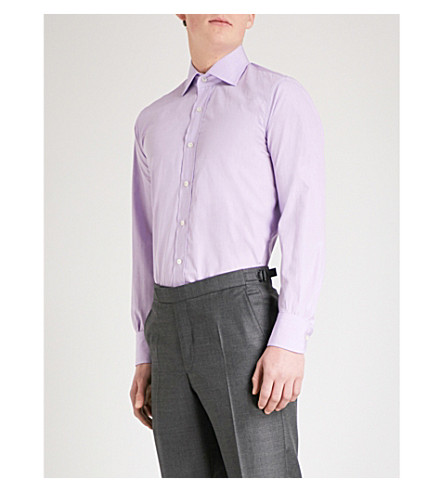 EMMETT LONDON Slim-fit cotton shirt (Lilac