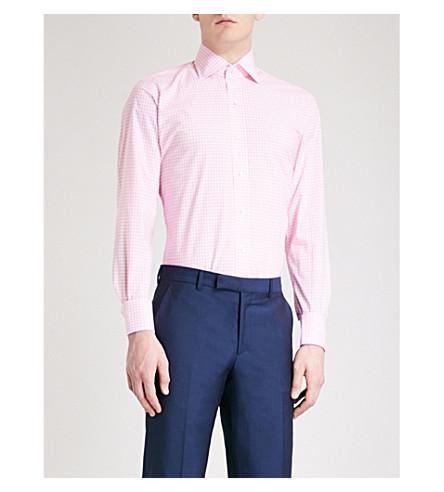 EMMETT LONDON Gingham slim-fit cotton shirt (Pink