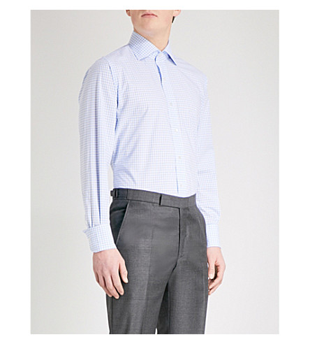 EMMETT LONDON Gingham slim-fit cotton shirt (Sky+blue