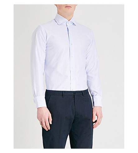 EMMETT LONDON Diamond-textured slim-fit cotton shirt (Sky+blue