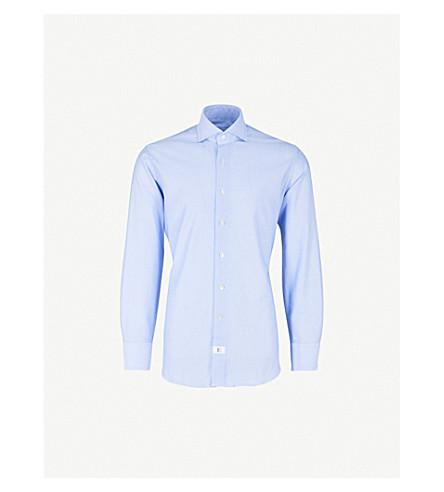 EMMETT LONDON Textured slim-fit cotton shirt (Sky+blue