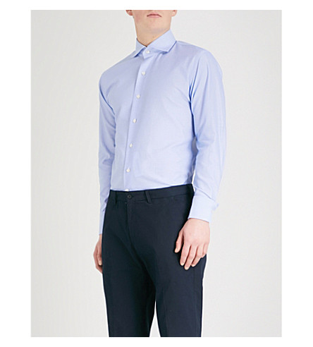 EMMETT LONDON Textured slim-fit cotton shirt (Sky+blue