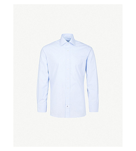 EMMETT LONDON Bengal-stripe slim-fit cotton shirt (Sky+blue