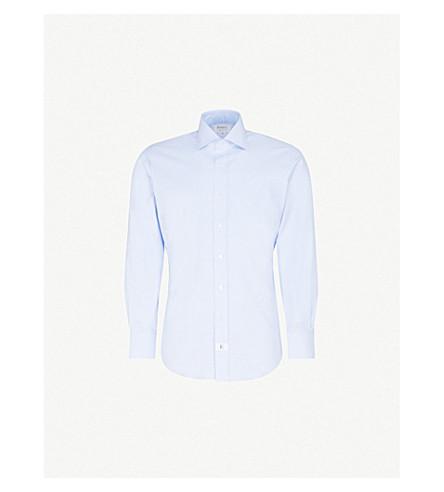 EMMETT LONDON Gingham slim-fit cotton shirt (Sky+blue