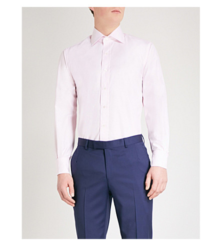 EMMETT LONDON Bengal-stripe slim-fit cotton shirt (Pink