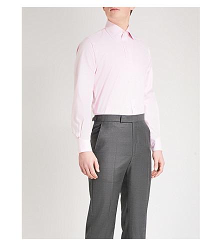 EMMETT LONDON 格子修身棉衬衫 (粉红色