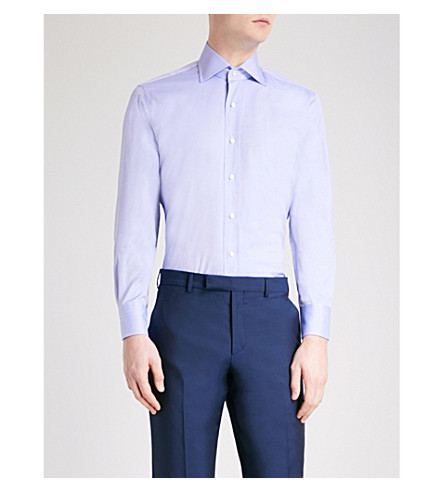 EMMETT LONDON Slim-fit cotton Oxford shirt (Blue