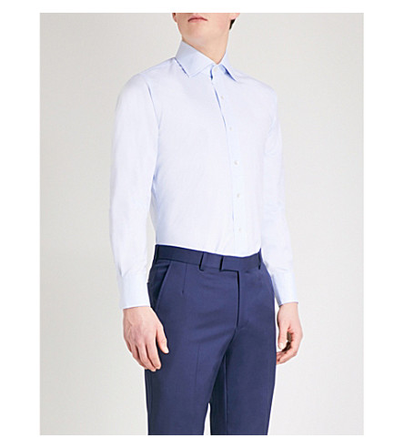 EMMETT LONDON Slim-fit cotton Oxford shirt (Sky+blue