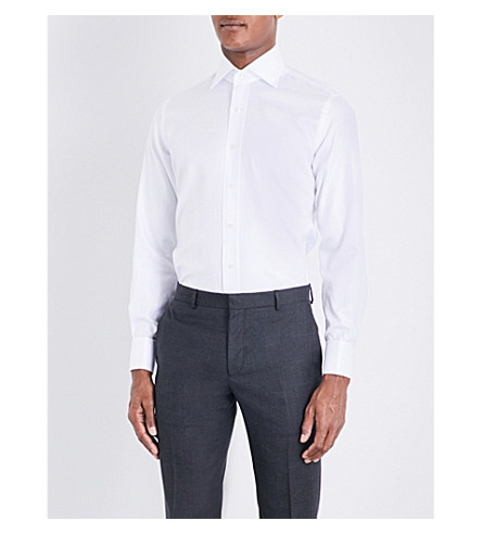 EMMETT LONDON 切尔西皇家常规版型棉斜纹衬衫 (白色