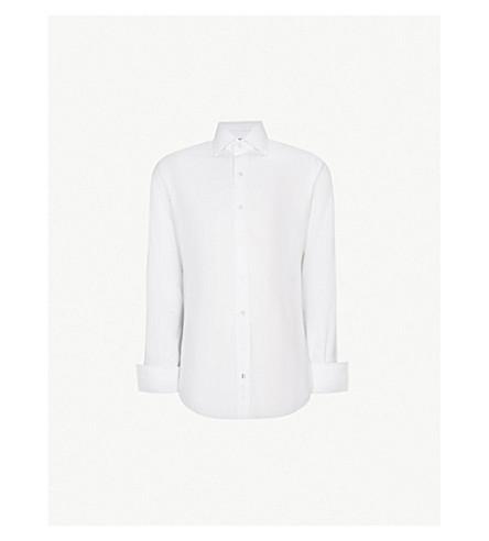 EMMETT LONDON Chelsea regular-fit cotton herringbone shirt (White
