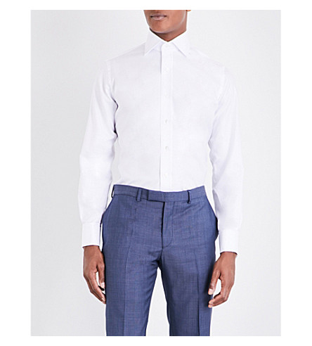 EMMETT LONDON Chelsea regular-fit cotton herringbone shirt (White