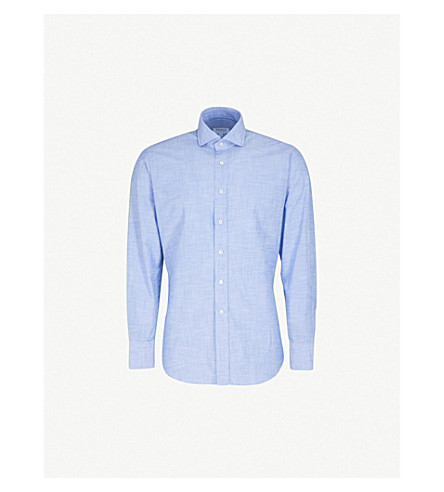 EMMETT LONDON Slim-fit cotton-chambray shirt (Blue
