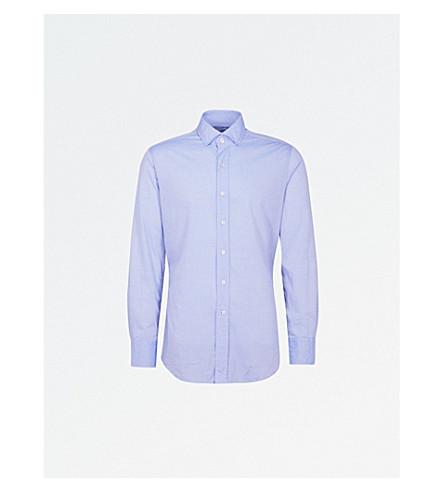 EMMETT LONDON 微型花棉花格子布衬衫 (蓝色