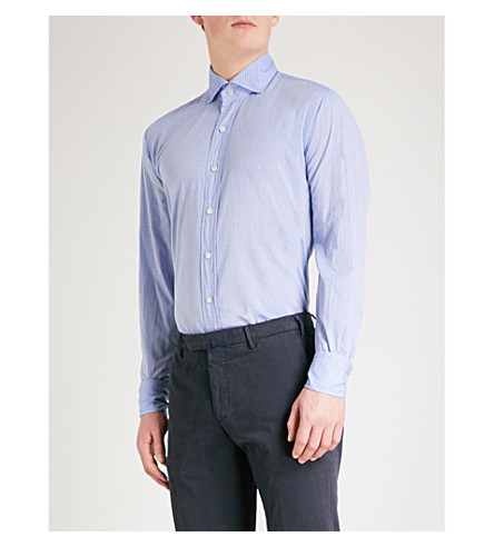 EMMETT LONDON Mirco-floral cotton-chambray shirt (Blue