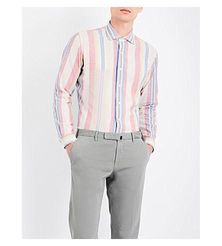 EMMETT LONDON Striped slim-fit Japanese denim shirt (White/sky