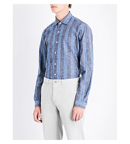 EMMETT LONDON Striped slim-fit linen and cotton-blend shirt (Navy